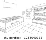 grocery store shop interior... | Shutterstock .eps vector #1255040383