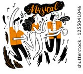dancing in music festival.... | Shutterstock .eps vector #1255041046
