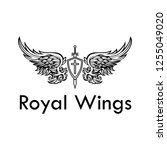 royal angelic wings tattoo ... | Shutterstock .eps vector #1255049020