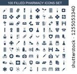 100 pharmacy icons. trendy... | Shutterstock .eps vector #1255053340