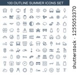 summer icons. trendy 100 summer ... | Shutterstock .eps vector #1255053370
