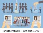 choose employee set. picking up ... | Shutterstock . vector #1255053649