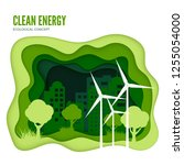 green energy ecological concept.... | Shutterstock . vector #1255054000