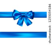 blue bow with ribbon isolated... | Shutterstock . vector #1255054186