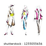 fashion girls sketch. fashion... | Shutterstock .eps vector #1255055656