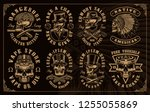 set of vintage skulls in... | Shutterstock .eps vector #1255055869