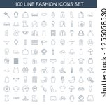 fashion icons. trendy 100... | Shutterstock .eps vector #1255058530