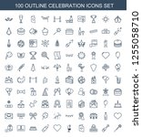 100 celebration icons. trendy...   Shutterstock .eps vector #1255058710