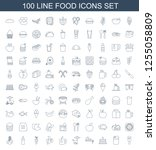 100 food icons. trendy food... | Shutterstock .eps vector #1255058809