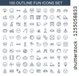 100 fun icons. trendy fun icons ... | Shutterstock .eps vector #1255058833