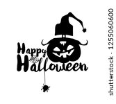 happy halloween party title... | Shutterstock . vector #1255060600
