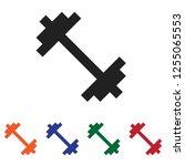 dumbbell icon vector | Shutterstock .eps vector #1255065553