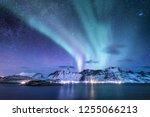 aurora borealis on the lofoten...   Shutterstock . vector #1255066213