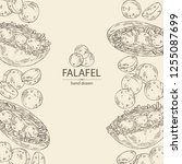 background with falafel in pita ... | Shutterstock .eps vector #1255087699