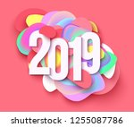 2019 colorful holiday... | Shutterstock .eps vector #1255087786