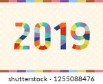 happy new year 2019 background... | Shutterstock .eps vector #1255088476