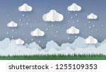 origami made rainy weather...   Shutterstock .eps vector #1255109353