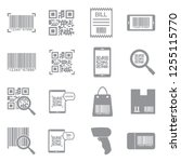 barcode icons. gray flat design.... | Shutterstock .eps vector #1255115770