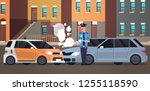 crashed car road accident... | Shutterstock .eps vector #1255118590