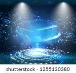 hud ui. abstract virtual... | Shutterstock .eps vector #1255130380