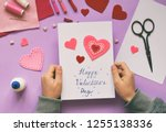 Stock photo making of handmade valentine greeting card from felt children s diy hobby concept gift with your 1255138336
