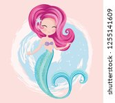 cute little mermaid vector... | Shutterstock .eps vector #1255141609