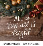 top view of christmas gift...   Shutterstock . vector #1255147303