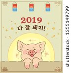 year of the pig. vector... | Shutterstock .eps vector #1255149799