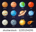 solar system planets with names ... | Shutterstock .eps vector #1255154290