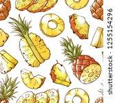 pineapple fresh sliced exotic...   Shutterstock .eps vector #1255154296