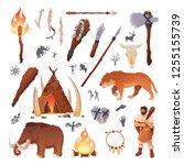 stone age primitive prehistoric ... | Shutterstock .eps vector #1255155739