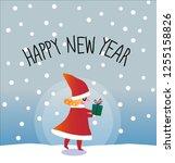 pretty little girl hold a gift...   Shutterstock .eps vector #1255158826
