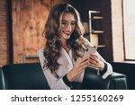 portrait of nice attractive... | Shutterstock . vector #1255160269