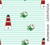 marine seamless pattern with a... | Shutterstock .eps vector #1255192216