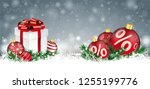 gray christmas card with with...   Shutterstock .eps vector #1255199776