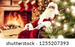 red old santa claus and home... | Shutterstock . vector #1255207393