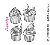 set of yummy cute cupcakes....   Shutterstock .eps vector #1255216720