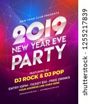 new year 2019 party poster... | Shutterstock .eps vector #1255217839