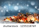 candles with christmas... | Shutterstock . vector #1255218769