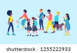 people or passersby on street.... | Shutterstock .eps vector #1255222933
