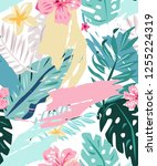 abstract cute pattern with... | Shutterstock .eps vector #1255224319