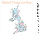 united kingdom hand drawn map....   Shutterstock .eps vector #1255229980