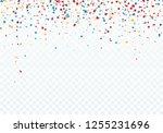 colorful falling confetti. top... | Shutterstock . vector #1255231696
