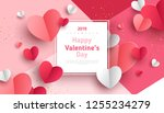 Valentine's day concept background. Vector illustration. 3d red and pink paper hearts with white square frame. Cute love sale banner or greeting card