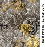 ethnic geometric motifs on... | Shutterstock . vector #1255240240