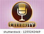 gold emblem with microphone... | Shutterstock .eps vector #1255242469