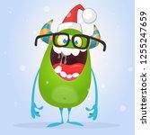funny monster elf wearing santa ... | Shutterstock .eps vector #1255247659