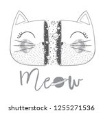 cute cat face space print....   Shutterstock .eps vector #1255271536