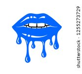 dripping lips sign. blue glossy ... | Shutterstock .eps vector #1255273729