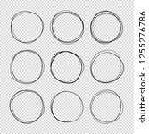 doodle sketched circles. hand... | Shutterstock . vector #1255276786